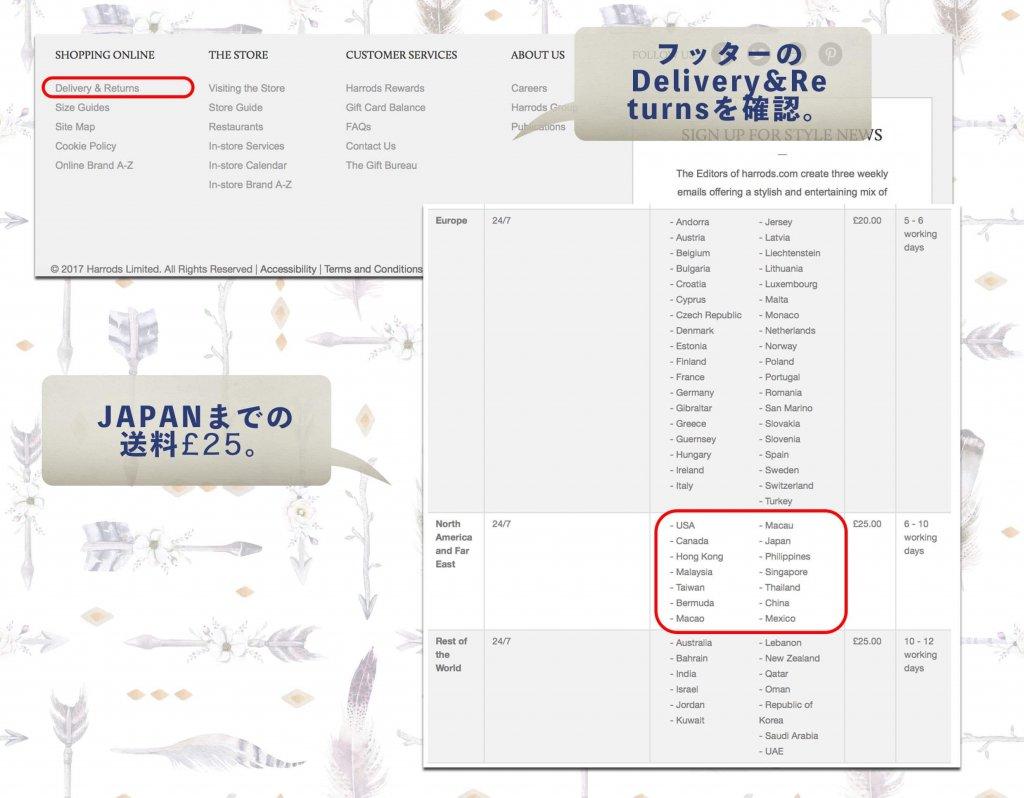 フッターのDelivery&Returnsを確認。Japanまでの送料25ポンド
